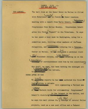 Primary view of object titled '[News Script: Cabell]'.