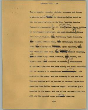 Primary view of object titled '[News Script: Teenage jazz]'.
