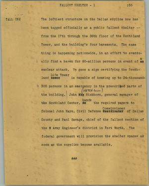 Primary view of object titled '[News Script: Fallout shelter]'.