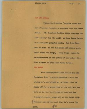Primary view of object titled '[News Script: Little lion]'.