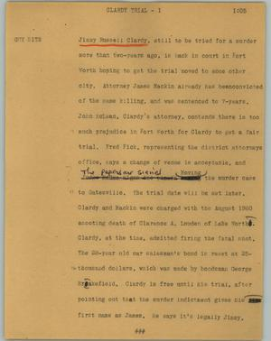 Primary view of object titled '[News Script: Clardy trial]'.