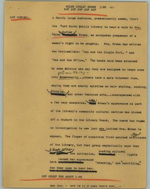 Primary view of object titled '[News Script: Helen Gurley Brown]'.