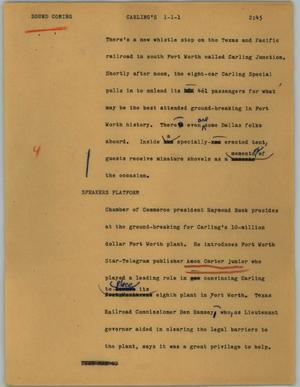 Primary view of object titled '[News Script: Carling's]'.