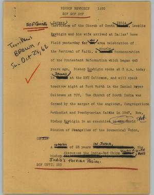 Primary view of [News Script: Bishop Newbigin]