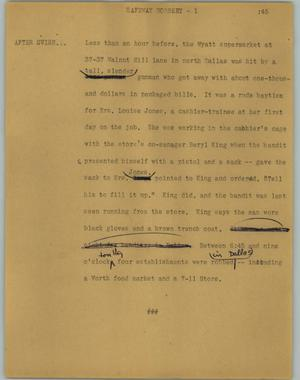 Primary view of object titled '[News Script: Safeway robbery]'.
