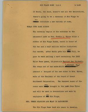 Primary view of object titled '[News Script: Six Flags rose]'.
