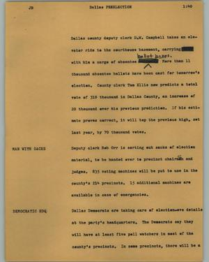 Primary view of object titled '[News Script: Preelection]'.