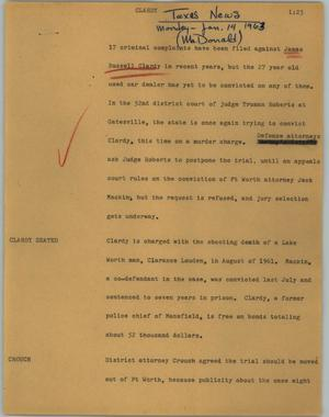 Primary view of object titled '[News Script: Clardy]'.