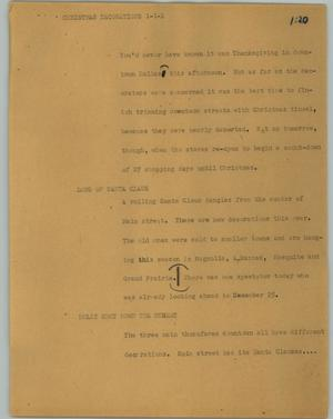 Primary view of object titled '[News Script: Christmas decorations]'.