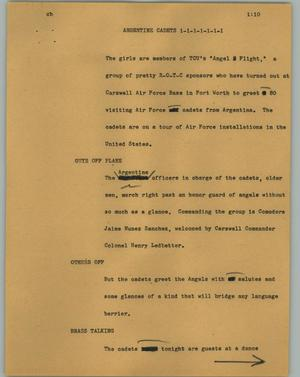 Primary view of object titled '[News Script: Argentine cadets]'.
