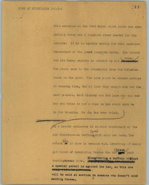 Primary view of object titled '[News Script: Cows at Stockyards]'.