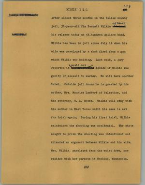 Primary view of object titled '[News Script: Wilkie]'.
