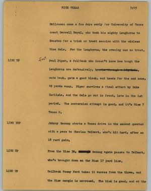 Primary view of object titled '[News Script: Rice Texas]'.