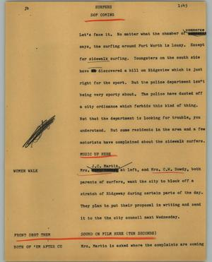 Primary view of object titled '[News Script: Surfers]'.