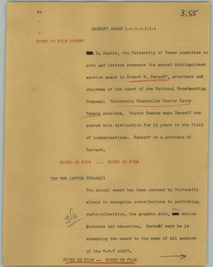 Primary view of object titled '[News Script: Sarnoff award]'.