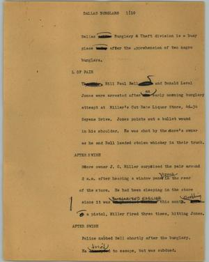 Primary view of object titled '[News Script: Dallas burglars]'.