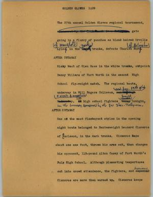 Primary view of object titled '[News Script: Golden Gloves]'.