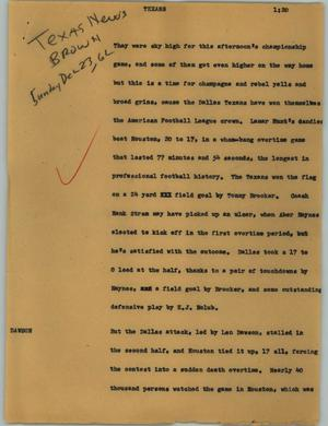 Primary view of object titled '[News Script: Texans]'.