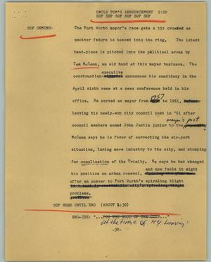 Primary view of object titled '[News Script: Uncle Tom's announcement]'.