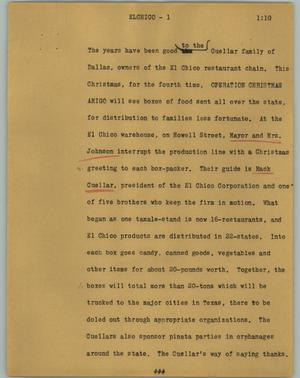 Primary view of object titled '[News Script: Elchico]'.