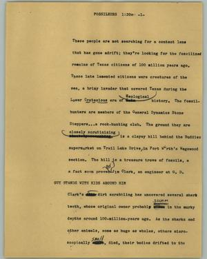 Primary view of object titled '[News Script: Fossileers]'.