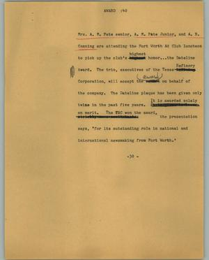 Primary view of object titled '[News Script: Award]'.