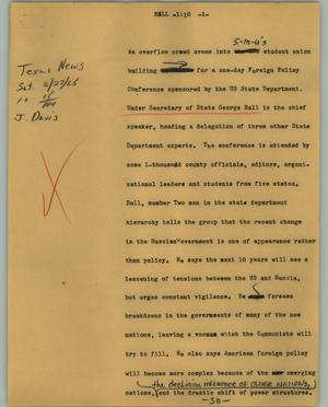 Primary view of object titled '[News Script: Bell]'.