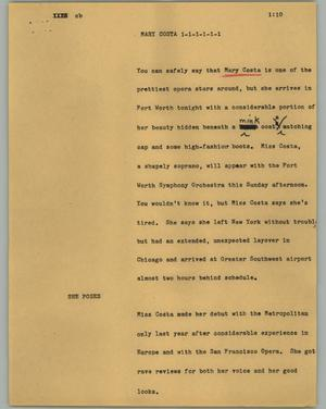 Primary view of object titled '[News Script: Mary Costa]'.