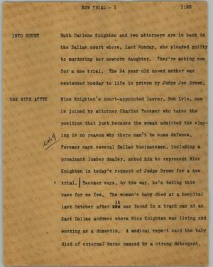 Primary view of object titled '[News Script: New trial]'.