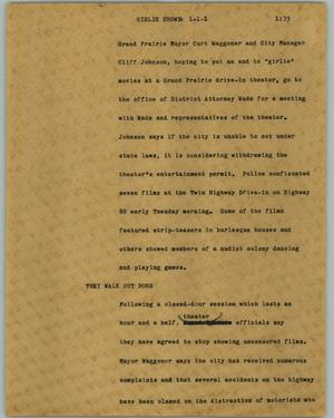 Primary view of object titled '[News Script: Girlie shows]'.
