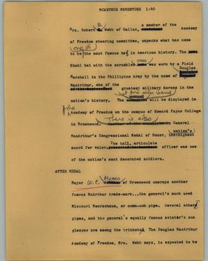 Primary view of object titled '[News Script: Macarthur mementoes]'.