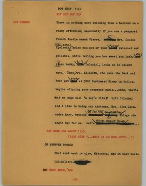 Primary view of object titled '[News Script: Dog shop]'.