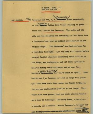 Primary view of object titled '[News Script: Doctor]'.