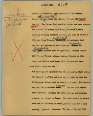 Primary view of object titled '[News Script: Maclin mess]'.