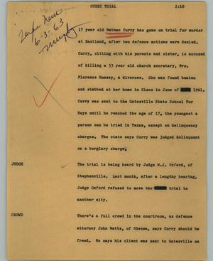 Primary view of object titled '[News Script: Curry trial]'.