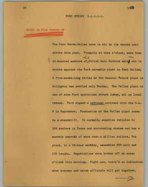 Primary view of object titled '[News Script: Ford strike]'.