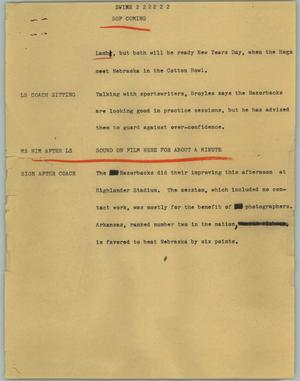Primary view of object titled '[News Script: Swine]'.
