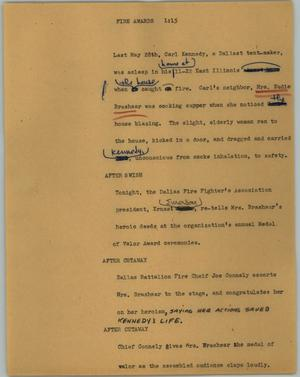 Primary view of object titled '[News Script: Fire awards]'.