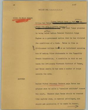 Primary view of object titled '[News Script: Billie Sol]'.