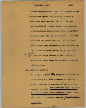 Primary view of object titled '[News Script: Mexicans]'.