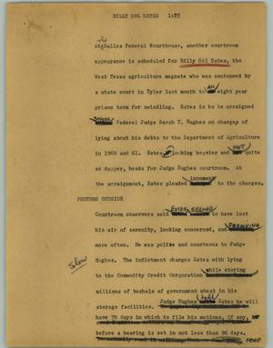 Primary view of object titled '[News Script: Billy Sol Estes]'.