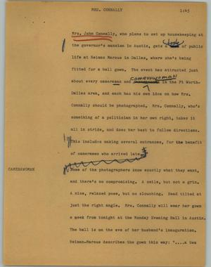 Primary view of object titled '[News Script: Mrs. Connally]'.