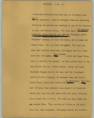 Primary view of object titled '[News Script: Shooting]'.