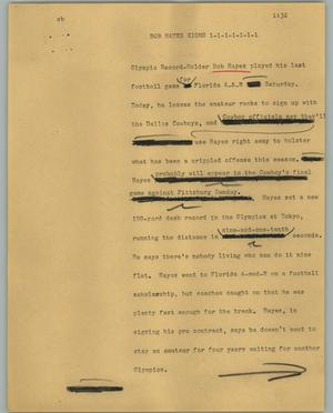 Primary view of object titled '[News Script: Bob Hayes Signs]'.