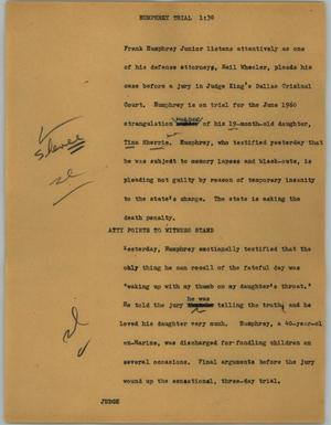 Primary view of object titled '[News Script: Humphrey trial]'.