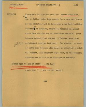 Primary view of object titled '[News Script: Governor Breathitt]'.