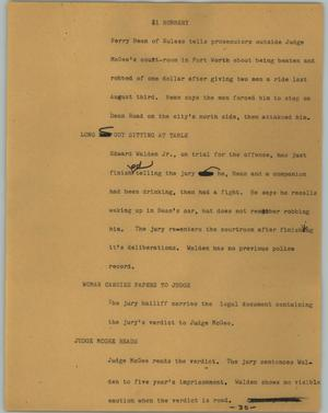 Primary view of object titled '[News Script: $1 Robbery]'.