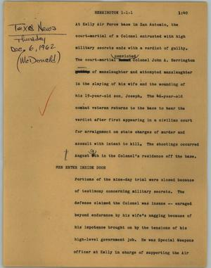 Primary view of object titled '[News Script: Herrington]'.