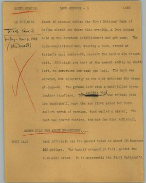 Primary view of object titled '[News Script: Bank robbery]'.