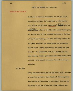 Primary view of object titled '[News Script: Drive in trouble]'.